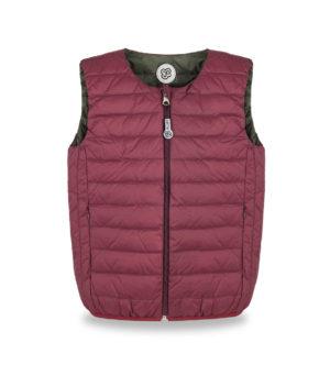 Burgundy and Dark green ultralight down vest