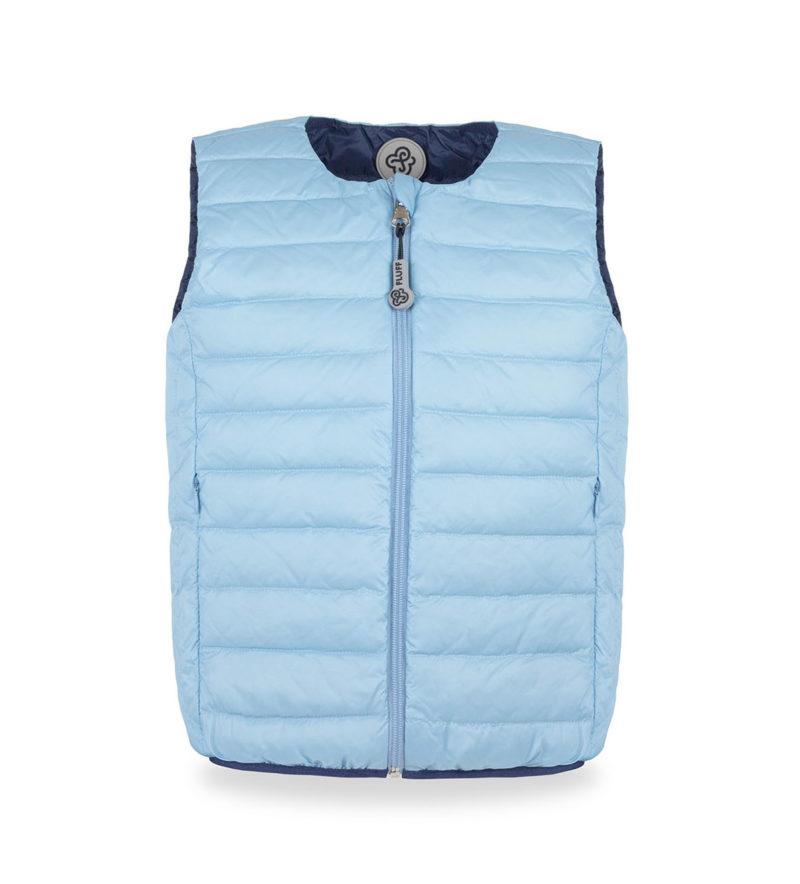 Sky blue&Navy ultralight down vest