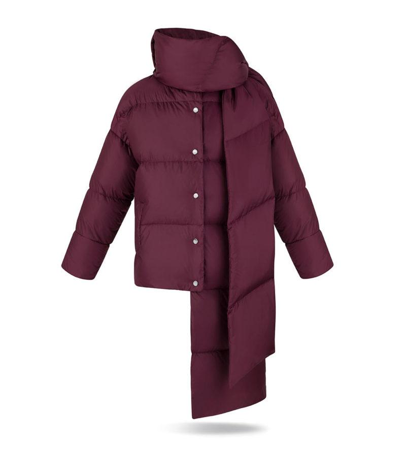 Asymmetric women coat in Burgundy