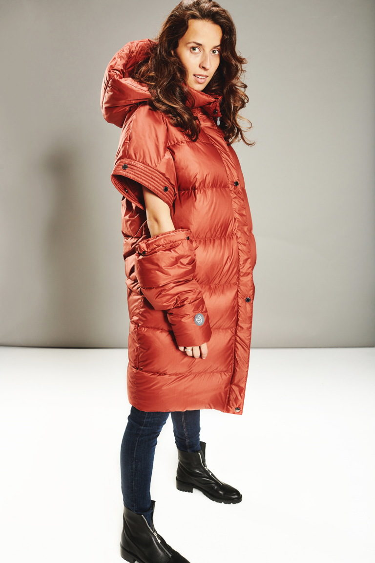 Detachable sleeves coat in Ginger Amber
