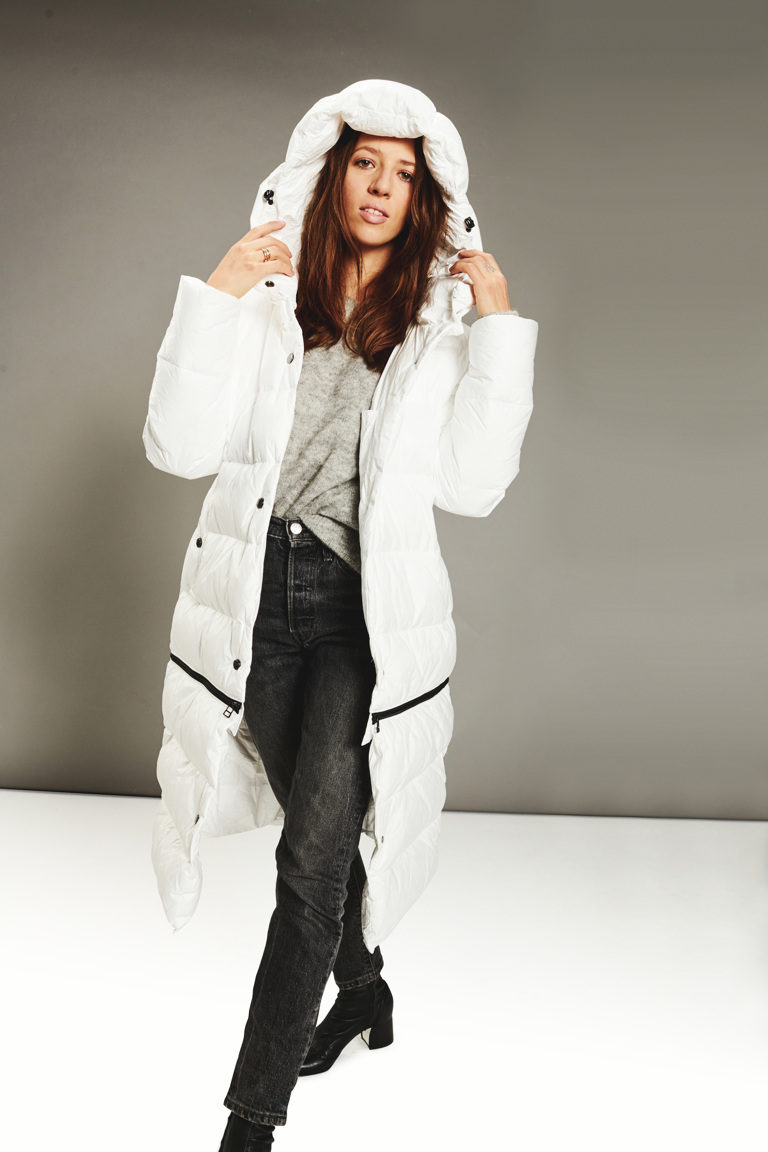 Two lenght women coat ECO white