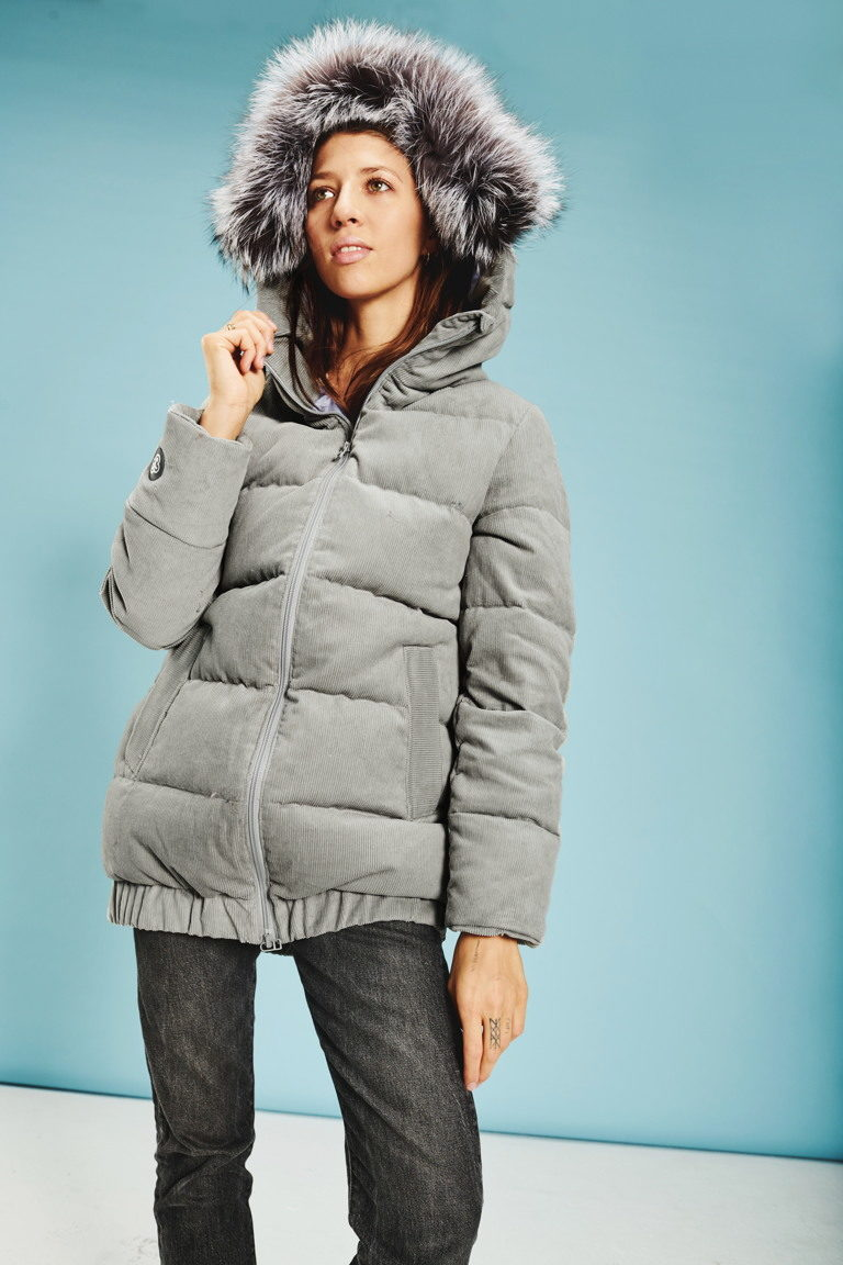 Corduroy women jacket in Grey