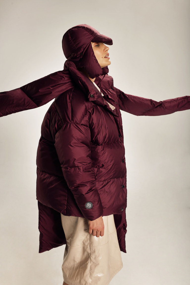 Asymmetric women coat in Burgundy