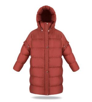 Detachable sleeves coat in Ginger Amber