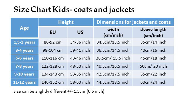 Size Chart Kids- coats and jackets