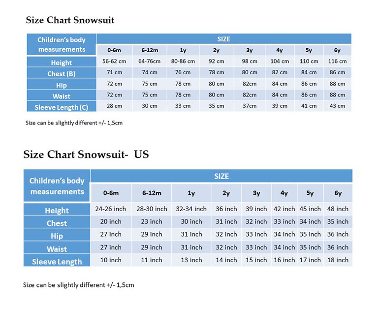 Size Chart Snowsuit - EU US