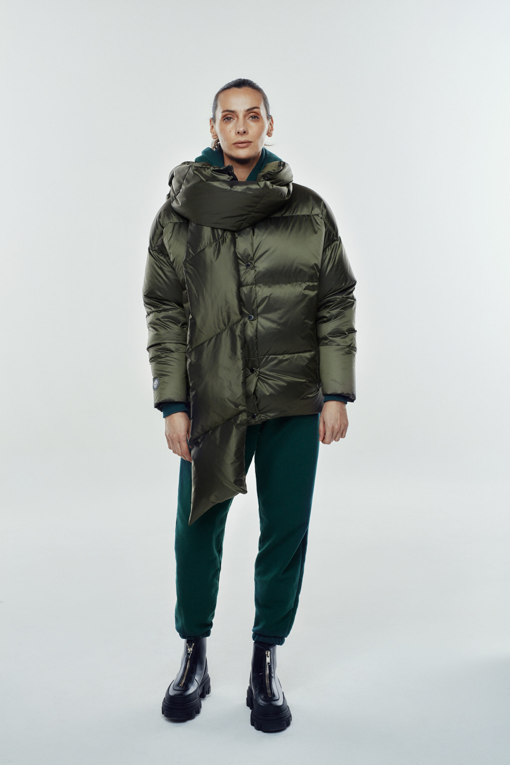 collar jacket dark green
