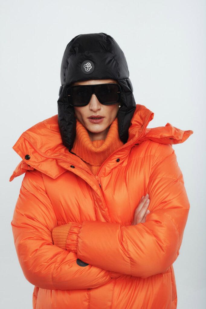 bomber orange black hat