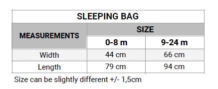sleeping bag size chart